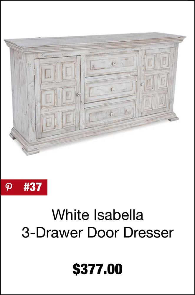 Isabella White Door Dresser