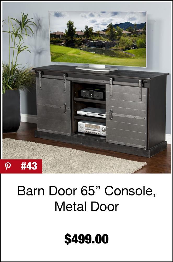 Barn Door 65-Inch Console, Metal Door