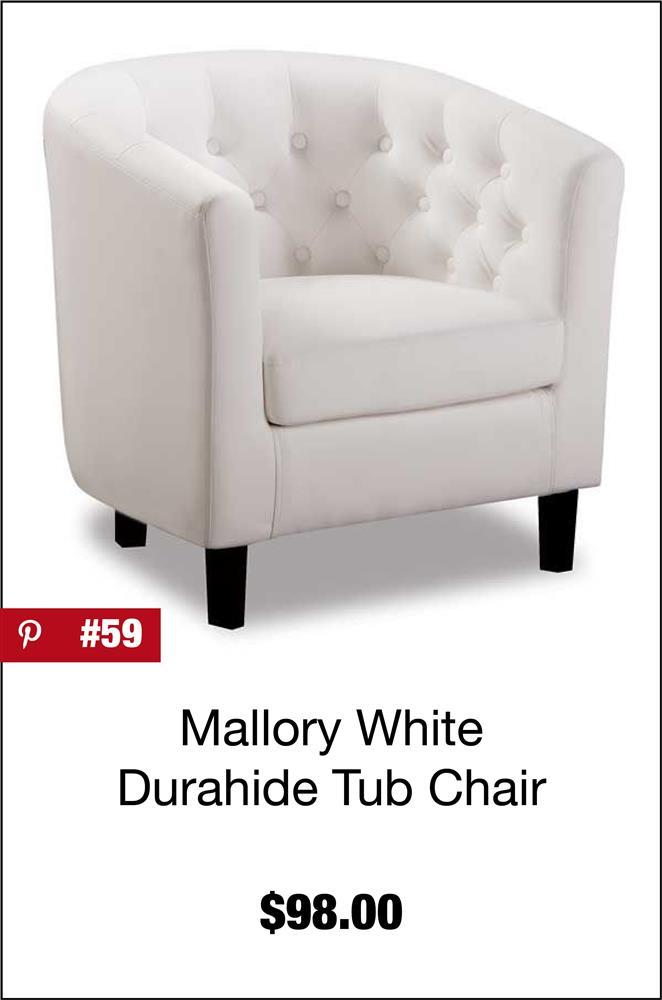 Mallory White Tub Chair