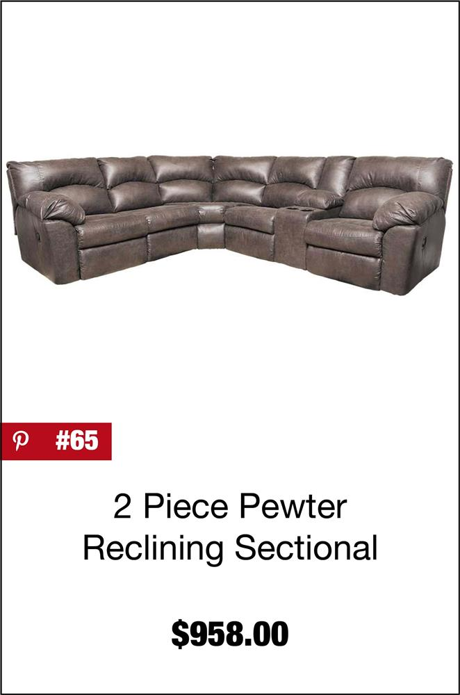 Tambo 2 Piece Pewter Reclining Sectional