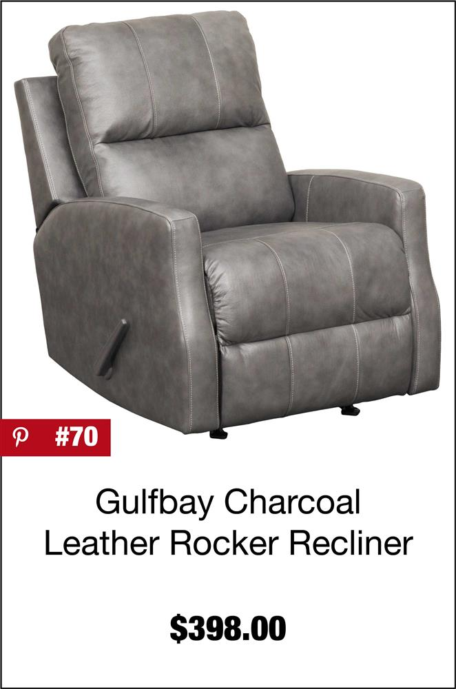 Gulfbay Charcoal Leather Rocker Recliner