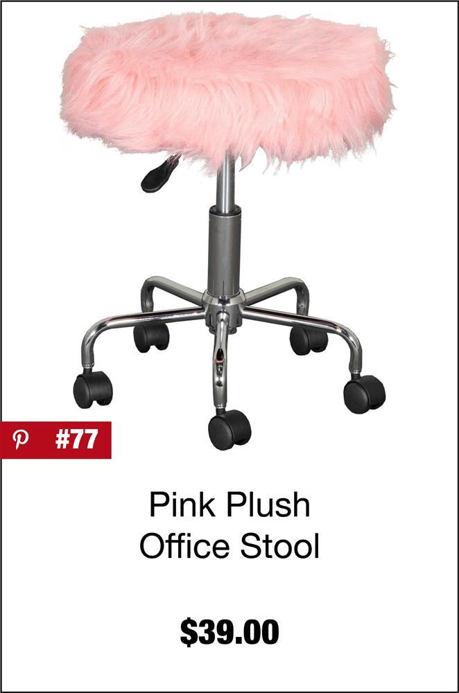 Pink Plush Office Stool