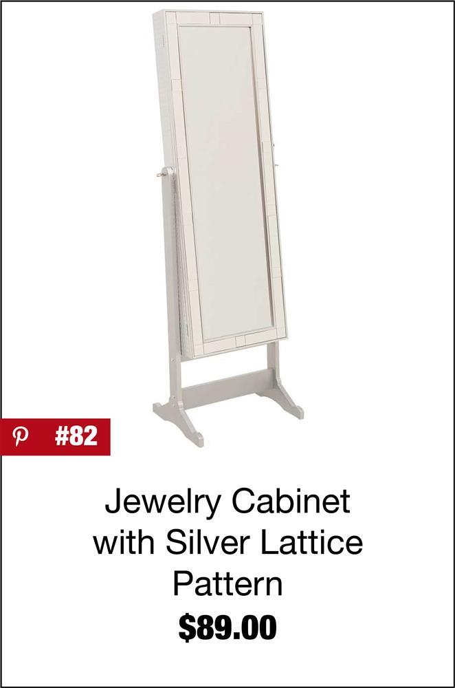Silver Lattice Mirror Border Jewelry Storage Mirror