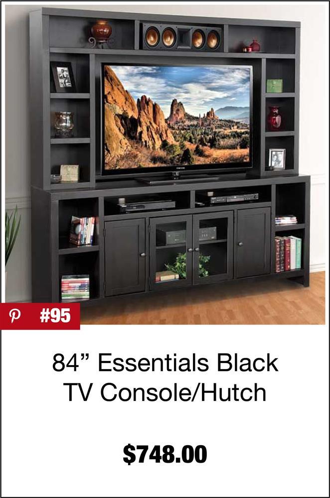 84'' Essentials Black TV Console/Hutch