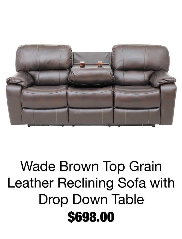 Wade Brown Top Grain Leather Recliner Sofa