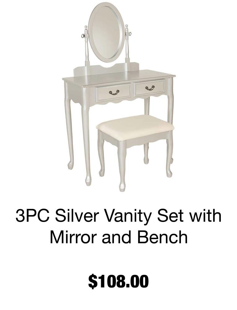 3 Pc Vanity Set with Mirror and Stool