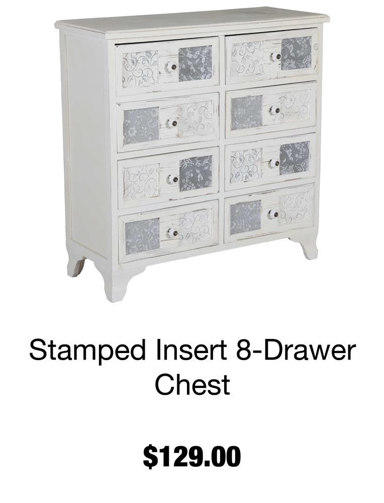Stamped Insert 8-Drawer Chest