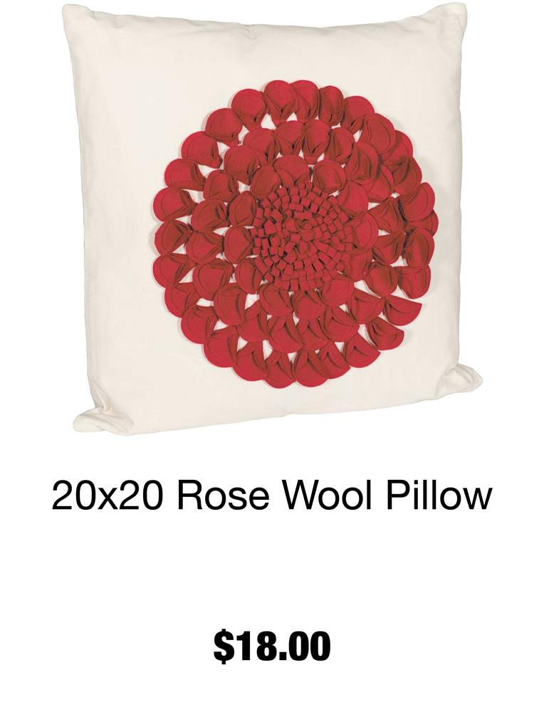 20x20 Rose Wool Pillow