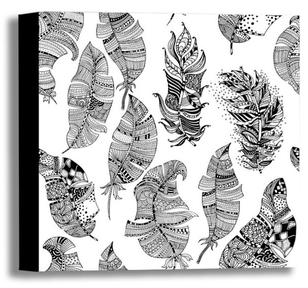 Color Your Own Canvas-Feathers 16x16 *D