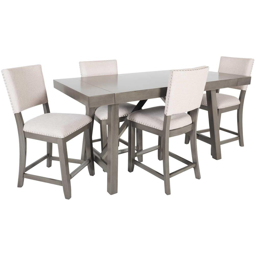Grey Counter Height Table and Counter Stools