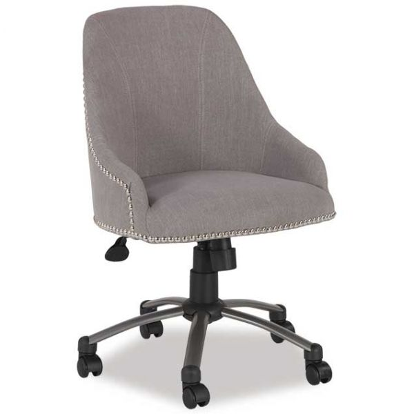 Linen Swivel Chair, Pewter