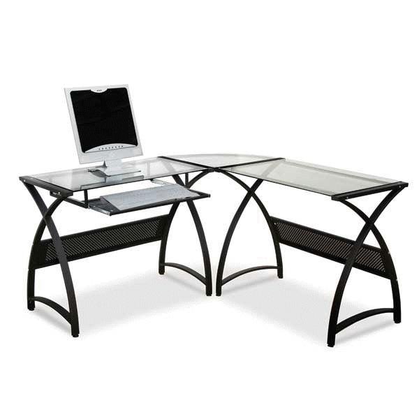 Black Metal/Glass L-Desk
