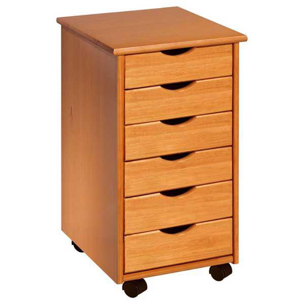 Pine 6 Drawer Roll Cart