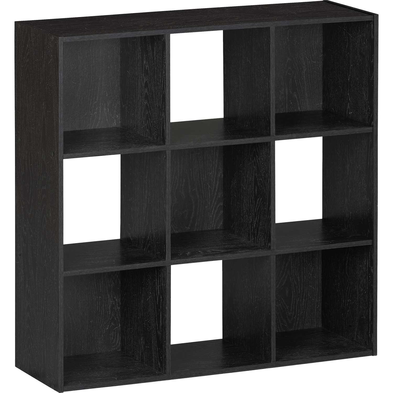 SystemBuild Black Nine Cube Storage Bookshelf
