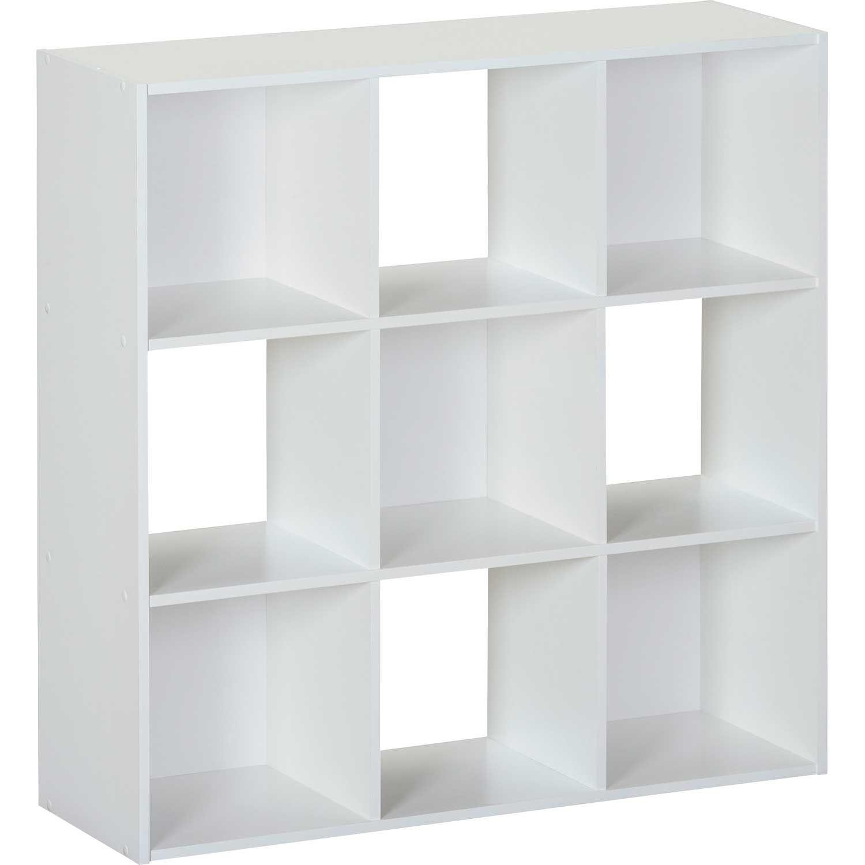 SystemBuild White Nine Cube Storage Bookshelf