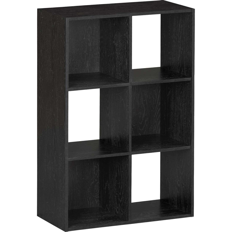 SystemBuild Black Six Cube Storage Bookshelf