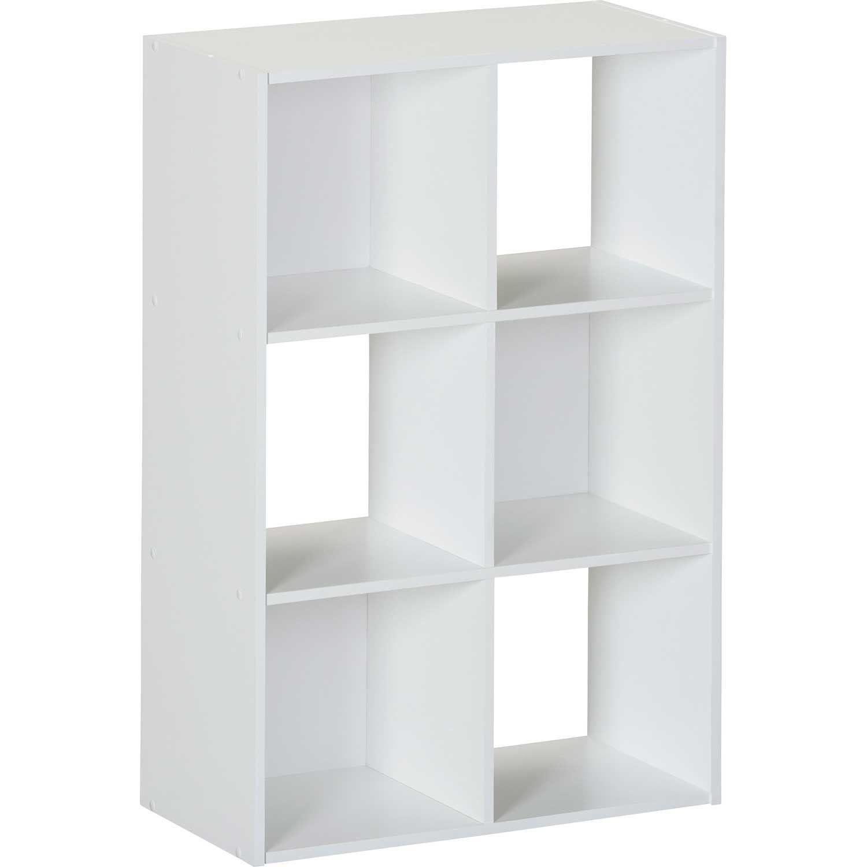 SystemBuild White Six Cube Storage Bookshelf