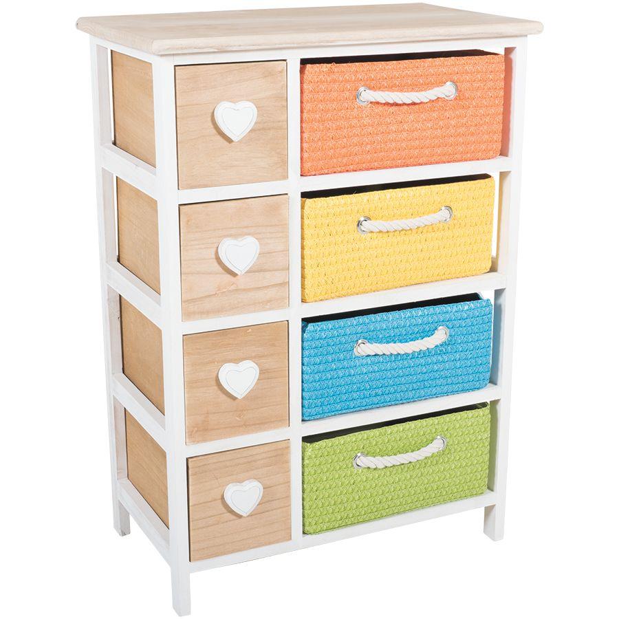 4 Drawer Multicolor Basket Storage