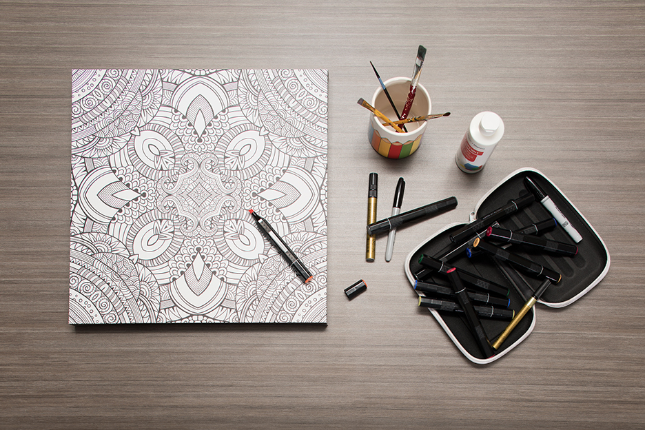 Color Your Canvas - Kaleidoscope with coloring supplies