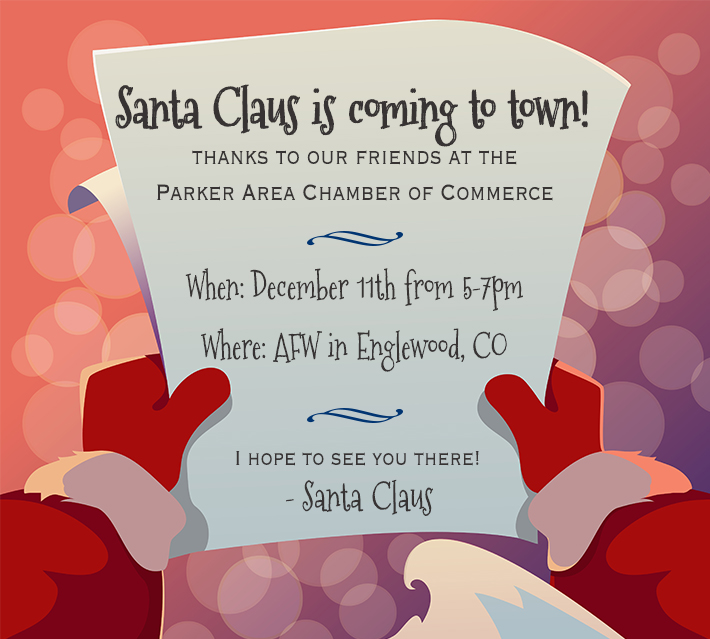 Santa will ba at the Englwood, CO AFW location December 11 from 5-7pm