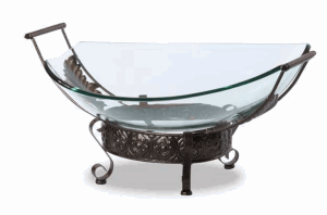 Glass Bowl on Iron Stand