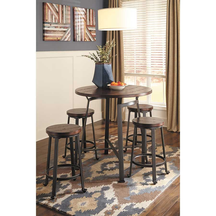 Brown Round Counter Height Table and Counter Stools