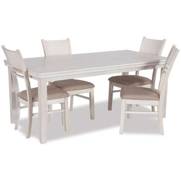 White Rectangular Dining Table and Chairs