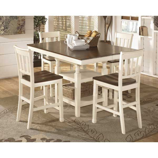 Brown and White Counter Height Table and Counter Stools
