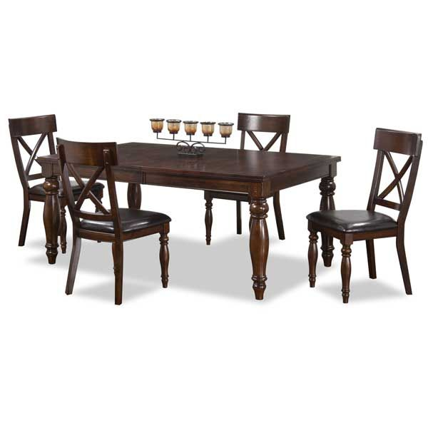 Brown Rectangular Dining Table and Chairs