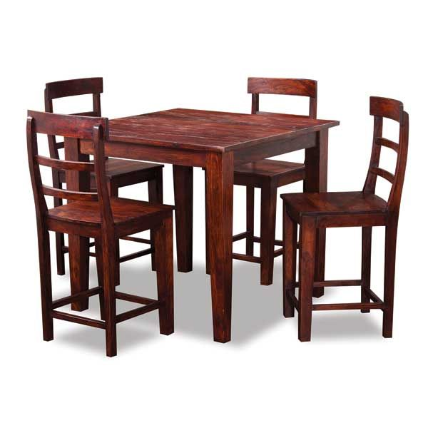 Brown Square Counter Height Table and Counter Stools