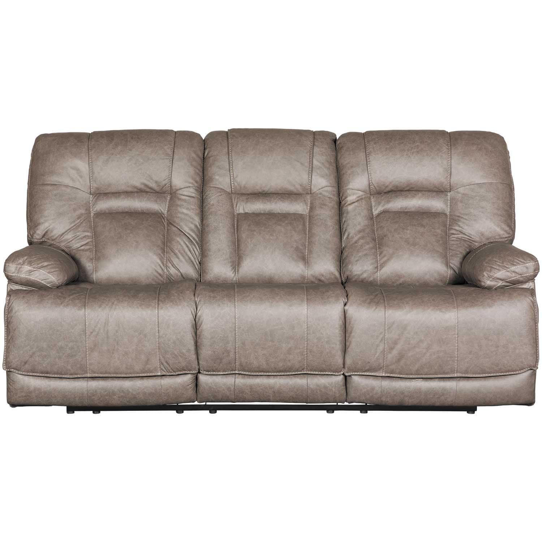 Wurstrow Smoke Italian Leather Power Reclining Sofa