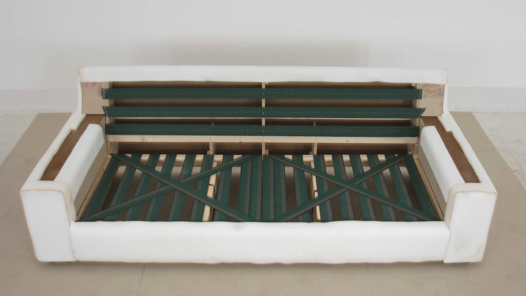 Wooden frame with foam and webbing