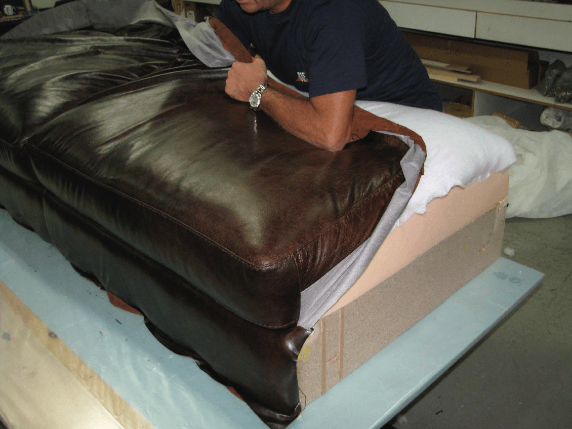 Butting leather on cushion