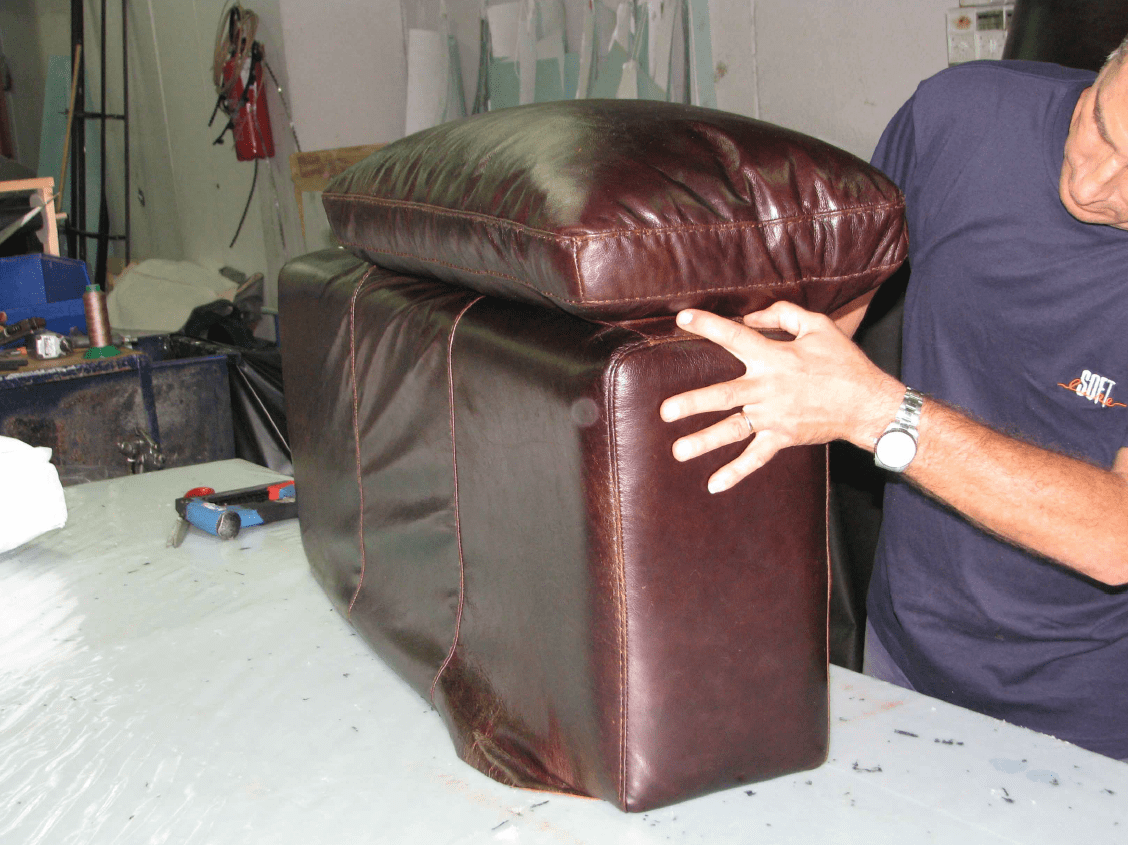 Putting leather on cushions