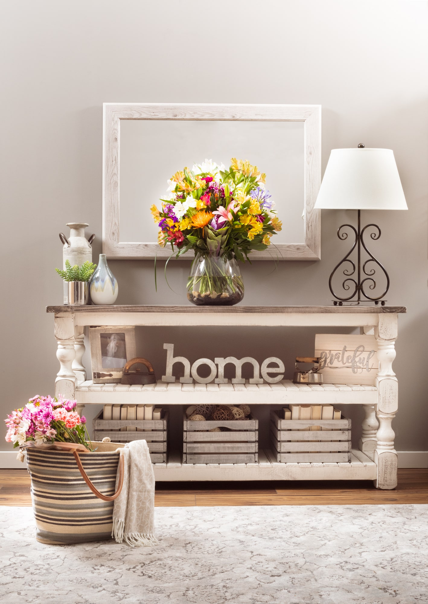 Sofa table with flowers