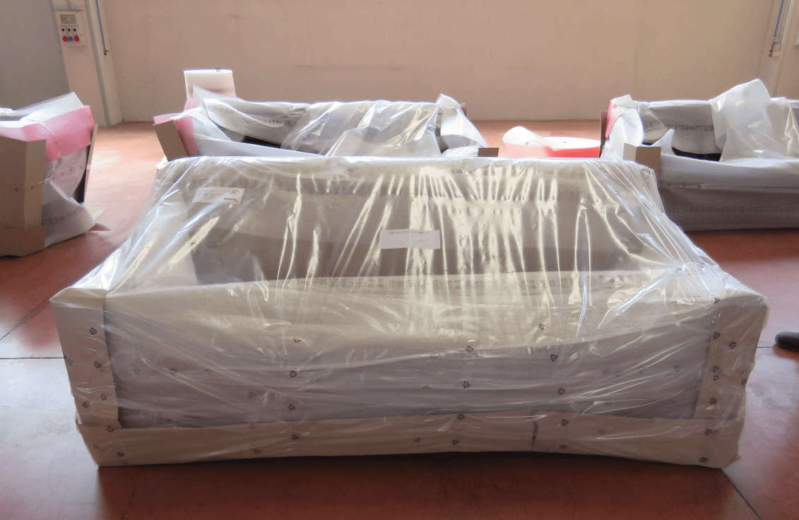 Sofa packaged and ready for shipping