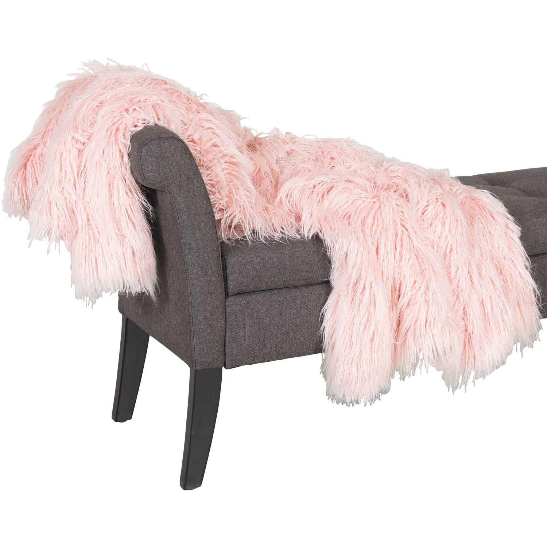 Blush Shaggy Fur 47x59 Blanket