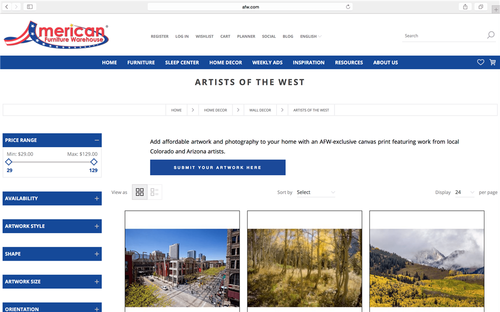 Screenshot of Artists of the West page on afw.com