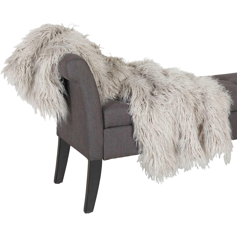 Grey Shaggy Fur 47x59 Blanket