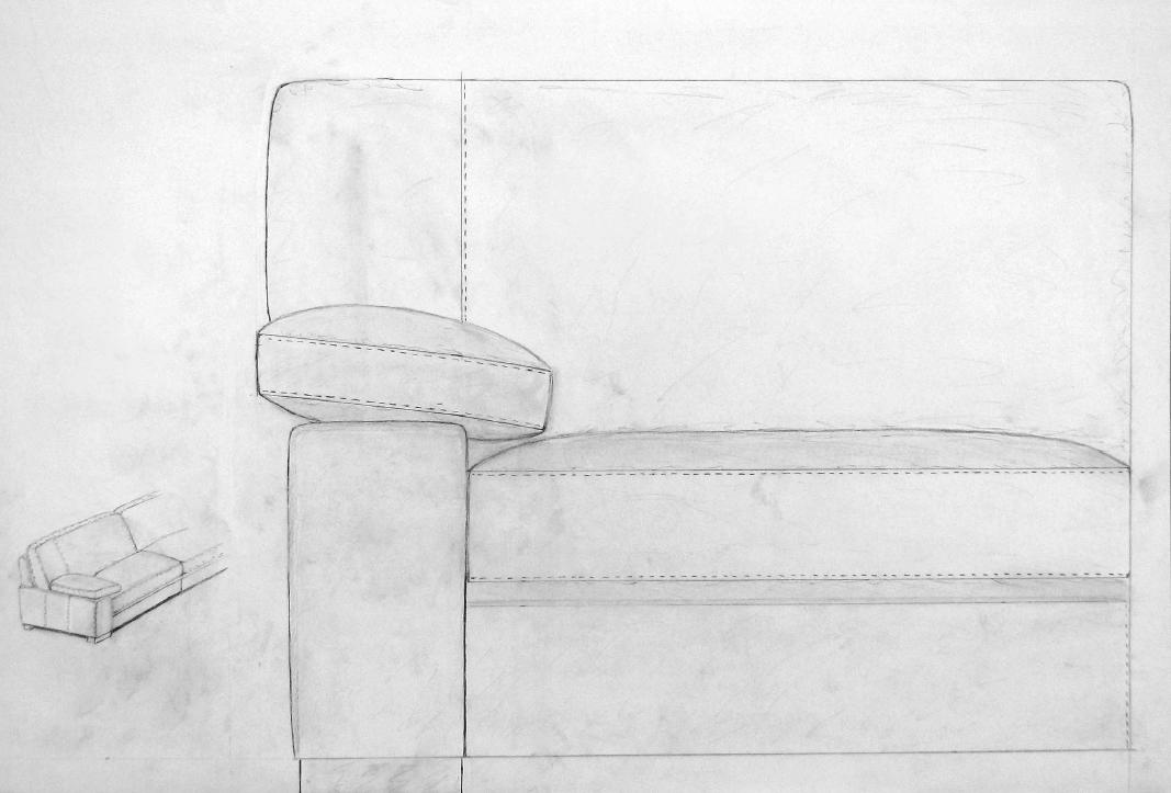 Pencil sketch of the Barcelona sofa design