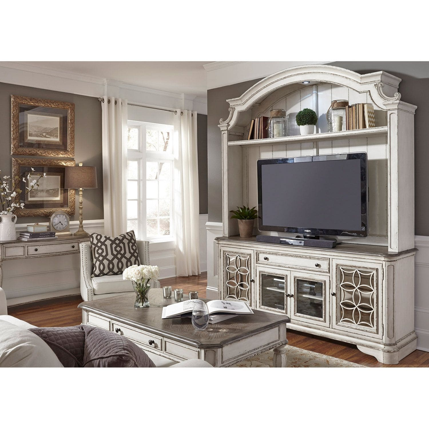 Magnolia Manor TV Stand With Hutch