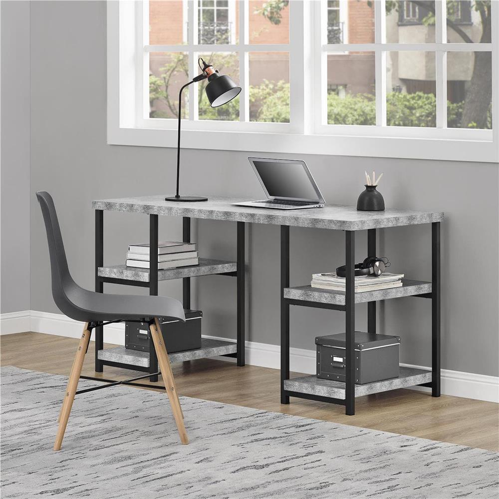 Desk with faux concrete finish