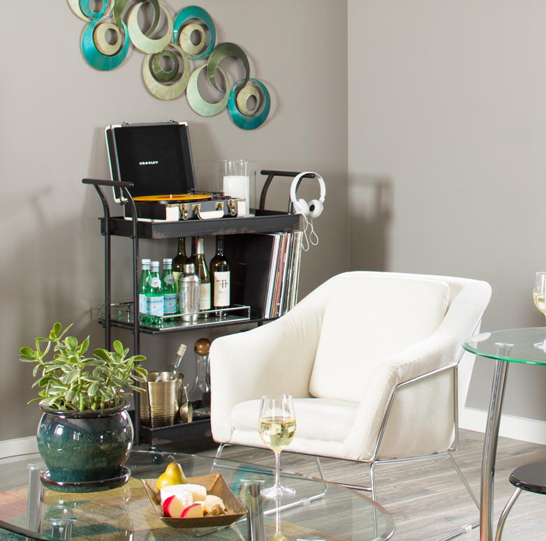 Bar cart in a corner