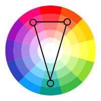 Color wheel showing a split complementary color scheme