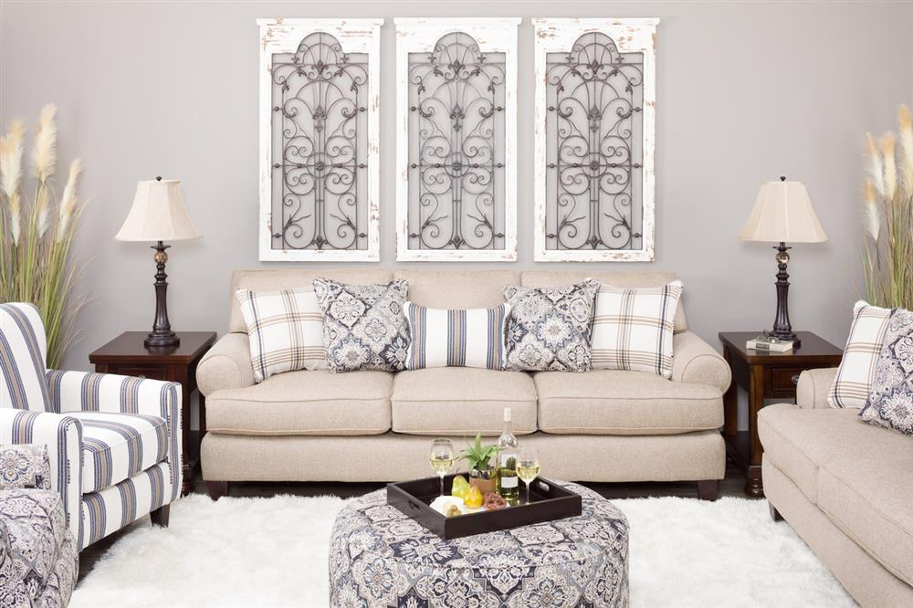 Sofa with plaid accent pillows