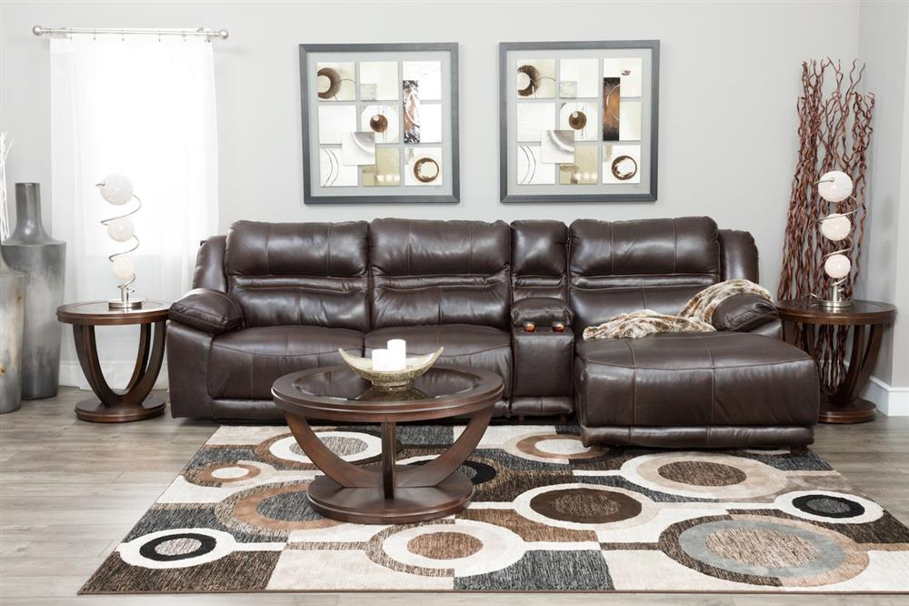 Power reclining sectional with power  headrests and power lumbar