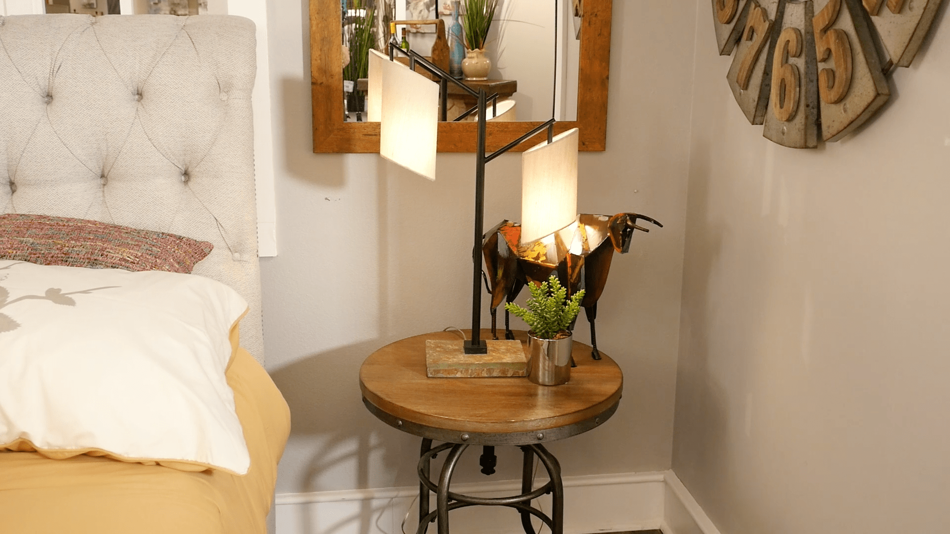 Wood and metal accent table with accessories