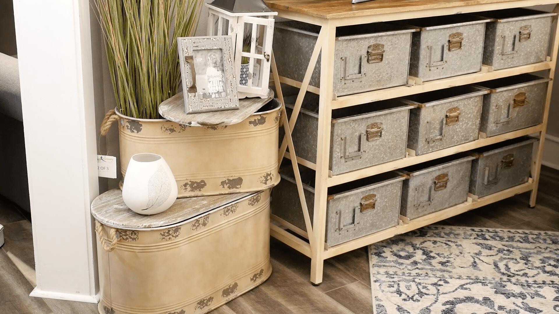 Metal storage bin and galvanized metal storage console