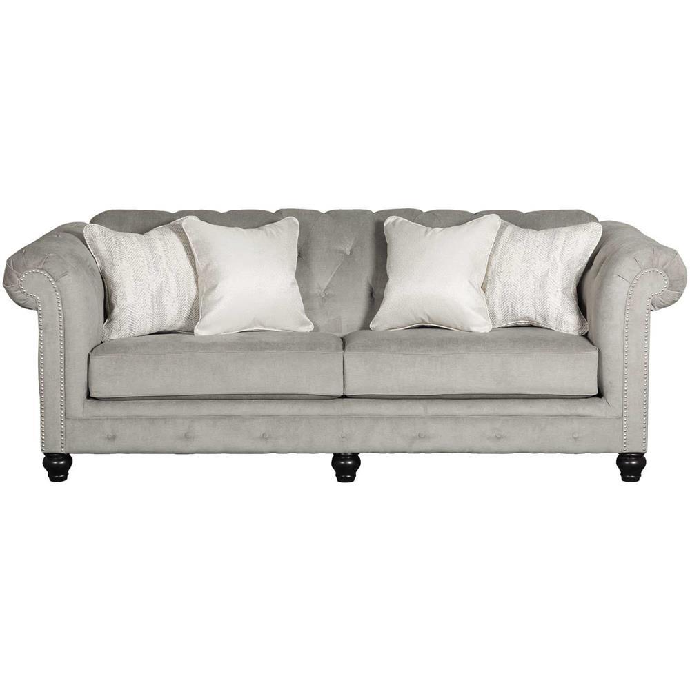 Tiarella Silver Tufted Sofa