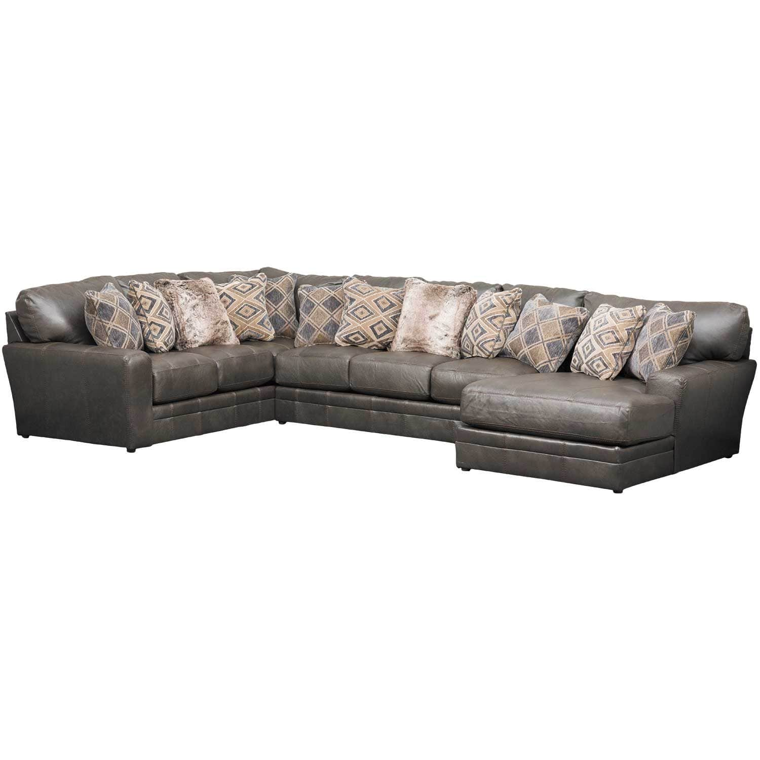 Denali 3 Piece Italian Leather Sectional with RAF Chaise